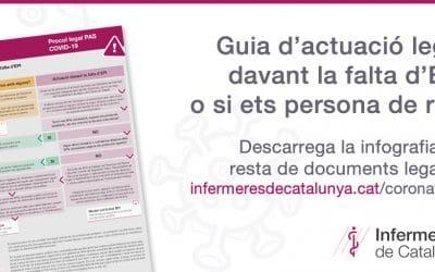 El Departament Legal d'Infermeres de Catalunya elabora un protocol d'actuació PAS davant la manca d'EPI